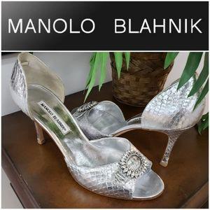 Manolo Blahnik sz 8.5  Silver SNAKE pump shoe